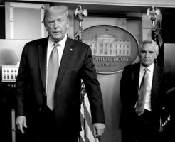 President Donald Trump, left, departs next to White House adviser on coronavirus Scott Atlas after his news conference at the White House in Washington, D.C., on Wednesday, Sept. 23, 2020. Atlas has resigned from the White House coronavirus task force. (Yuri Gripas/Abaca Press/TNS)