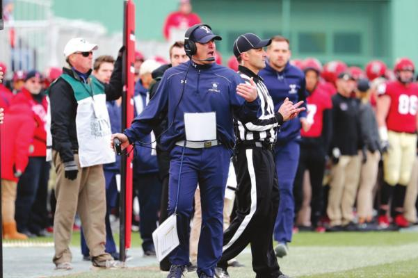 Yale Bulldogs head coach Tony Reno on the sidelines during the 135th playing of The Game between the Harvard University Crimson and the Yale University Bulldogs on November 17, 2018 at Fenway Park in Boston, Massachusetts. (Fred Kfoury III/Icon Sportswire/Zuma Press/TNS)