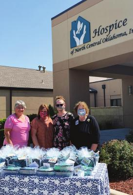 HOSPICE OF North Central Oklahoma volunteers were recently recognized. Pictured, from left, are Janice Evans, Ann Steichen, Judy Bales, volunteer coordinator, and Annette Hunt, CAO and volunteer director.