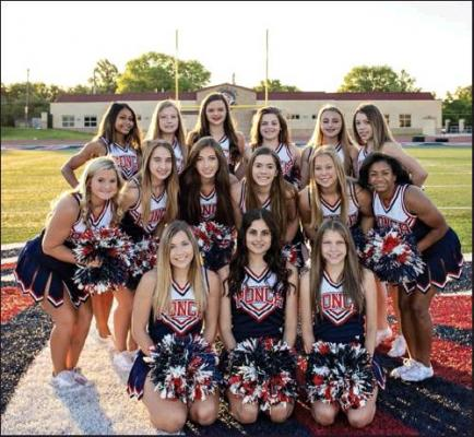 VARSITY CHEERLEADERS pictured, front row from left, are Rylee Criner, Daysha Gilpin, Makena Van-Horn, middle row, Ashton Leven, Hannah Ball, Brooke Pruitt, Haleigh George, Serenity RollerJones, Devon Shaw, and back row, Karlea Rich, Callie Hurley, Emma Kate Graham, Savanna Terrell, Emily Harraman, Jayce Bickford.
