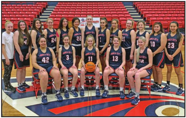 THE PONCA CITY Lady Cats basketball team shown in what would have been the official team photo in the Class 6A State Tournament program. Because of the coronavirus pandemic, all State Tournaments were postponed. At this point it is unlikely that they will be played.