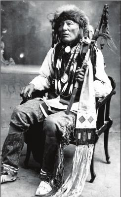 THIS PHOTO of Ponca Chief White Eagle appeared on a postcard about 1915. The Kay County community of White Eagle is named in his honor. Photo provided by Oklahoma Historical Society.