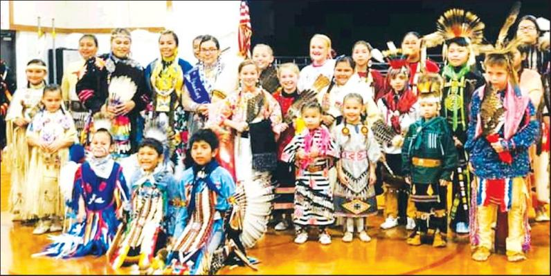 PICTURED ARE all the Native American Dancers who are traveling to the elementary schools this month for Native American Heritage Month. These photos were taken by Priscilla Arkeketa.