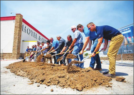 A GROUNDBREAKING ceremony was held Wednesday afternoon at the Tonkawa Hotel and Casino for a new HUB Entertainment Center.