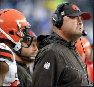 CLEVELAND BORWNS head coach Freddie Kitchens watches from the sideline in the first half of an NFL football game against the New England Patriots, Sunday, Oct. 27, 2019, in Foxborough, Mass. (AP Photo)