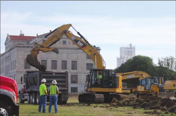 Rick Scott Construction has begun working on the new facility and addition to the Kay County Courthouse. Crews were clearing the area and breaking ground on Monday morning. According to Attorney David Cummings the project is scheduled to be completed by July of 2021. (News photo by Jessica Windom)