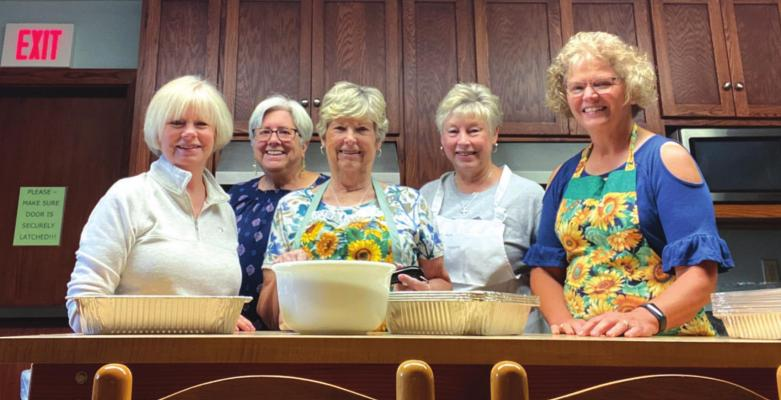 The Grace Episcopal Church Women are taking orders for their 20th Annual Pre-Thanksgiving Food Fair Fundraiser. All proceeds from the fundraiser will benefit local outreach. Pictured from left to right are Marsha Orr, Jane Simmons, Sharla Lambring, Marsha Moore and Pam Belzer.(News photo provided by Grace Episcopal Church Women).