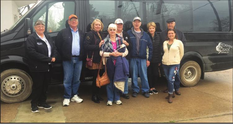 THE GROUP roamed in and around Pawhuska and the Osage Hills with Roaming the Osage. The group drove up to the Tallgrass Prairie the entrance to the Drummond Ranch, historic homes that are now bed and breakfasts, historic sculptures and more.