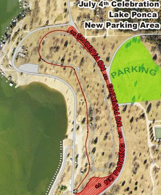 THE PARKING MAP for Saturday night's festivities at Lake Ponca.