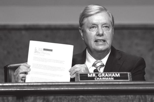 Senate Judiciary Committee chairman Sen. Lindsey Graham, R-S.C., speaks during a Senate Judiciary Committee oversight hearing on Capitol Hill in Washington, Wednesday, Aug. 5, 2020, to examine the Crossfire Hurricane investigation. (AP Photo/Carolyn Kaster, Pool)