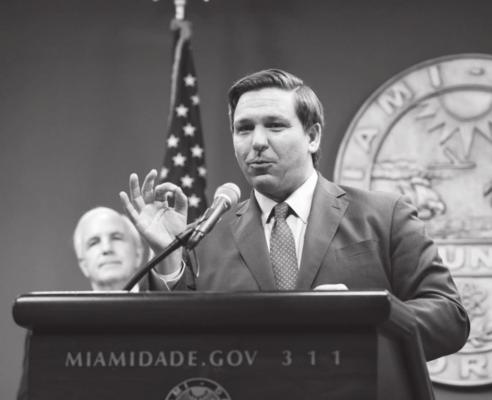 FLORIDA Gov. Ron DeSantis speaks during a press conference relating hurricane season updates at the Miami-Dade Emergency Operations Center on June 8, 2020 in Miami, Florida. (Eva Marie Uzcategui/Getty Images/TNS)