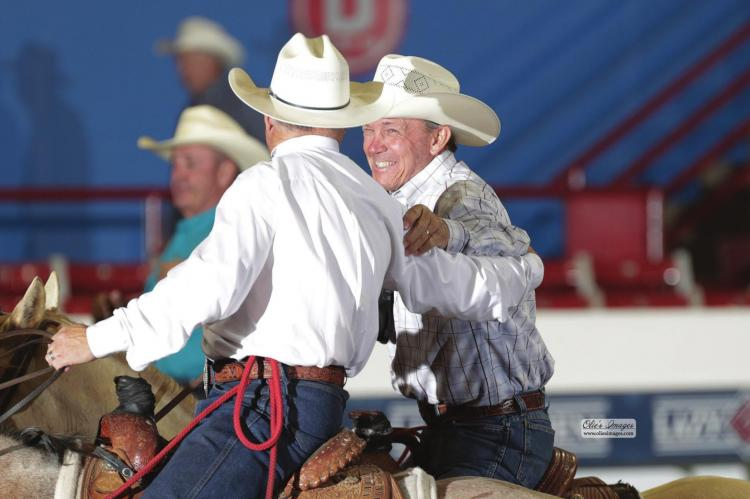 OKLAHOMA TEAM ropers Mark Collins and Max Vincent were moved to tears by their $50,000 win in the inaugural Cactus 10.5 Over 40, also on June 23. The longtime friends from Leedey and Dover usually heel and head for each other, but switched ends so that their handicaps allowed them into the roping. The win comes just a few years after Vincent successfully battled cancer.