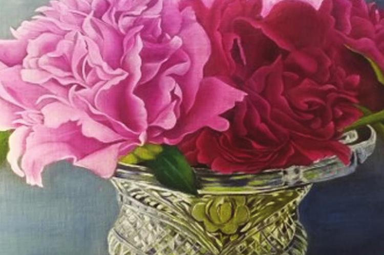 "Jannie Ross- 1st Place Professional Oil/Acrylic Titled: "" Peaceful Peonies"""
