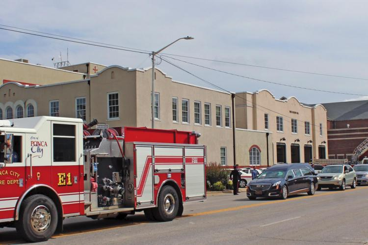 A funeral service was held for retired Deputy Fire Chief Kenneth Sherron on Sept. 15. He worked for the Ponca City Fire Department for 21 years and the procession was led by fire truck and saluted by servicemen. (Photo by Calley Lamar)
