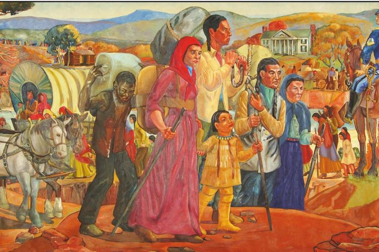 "THE 1938 mural, ""Trail of Tears"" by Elizabeth Janes, depicts the arrival of the Cherokees in Indian Territory in the 1830s. Image courtesy of the Oklahoma Historical Society."