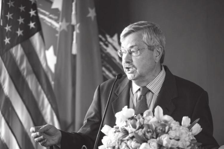 In this file photo, US Ambassador to China Terry Branstad speaks to guests and journalists during a promotional event for US beef in Beijing on June 30, 2017. Branstad announced Monday that he will retire from his position and return to the United States by early October.(FRED DUFOUR/AFP via Getty Images/TNS)