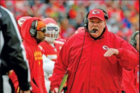 KANSAS CITY Chiefs head coach Andy Reid talks to down judge Tom Stephan (68), during a Dec. 29 NFL football game against the Los Angeles Chargers in Kansas City, Mo. Of the coaches in the NFL's Final Four, Andy Reid is the outlier. Only Kansas City's coach has been the head man in a Super Bowl. Only Reid is close to having a Hall of Fame-worthy resume. Only Reid has been around for a couple of decades. (AP Photo)