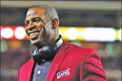 Deion Sanders of the NLF 100 All-Time Team is honored on the field prior to Super Bowl LIV between the San Francisco 49ers and the Kansas City Chiefs at Hard Rock Stadium on Feb. 2, 2020 in Miami, Florida. (Photo by Maddie Meyer/Getty Images/TNS)