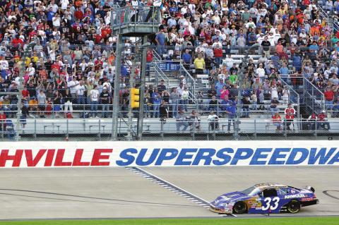 IN THIS APRIL 3, 2010, file photo, Kevin Harvick takes the checkered flag at the finish line to win the NASCAR Nationwide Series Nashville 300 auto race at Nashville Superspeedway in Gladeville, Tenn. NASCAR is set to return to the track in 2021. Nashville Superspeedway will hold a Cup race for the first time next season. It ends NASCAR's decade-long drought at the track. (AP Photo/Mark Humphrey, File)