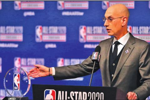 NBA Commissioner Adam Silver talks during events at NBA All-Star weekend on February 15, 2020, at the United Center in Chicago. (Chris Sweda/Chicago Tribune/TNS)